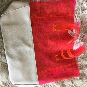 Victoria Secret Pink and White Beach tote